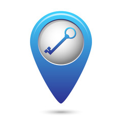 Map pointer with closed lock icon