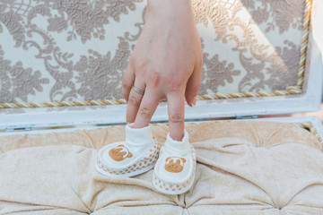 White baby's shoes.