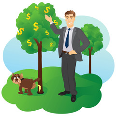 The businessman points on a money tree
