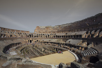 Interior view of the Colosseum, Italy.