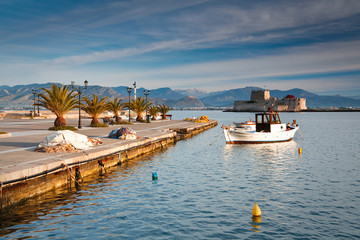 Fishing harbour in town of Nafplio, Peloponnese, Greece.
