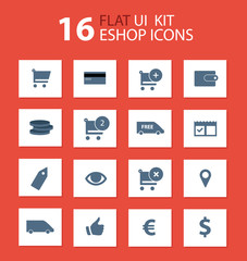 Flat ui kit eshop design icons