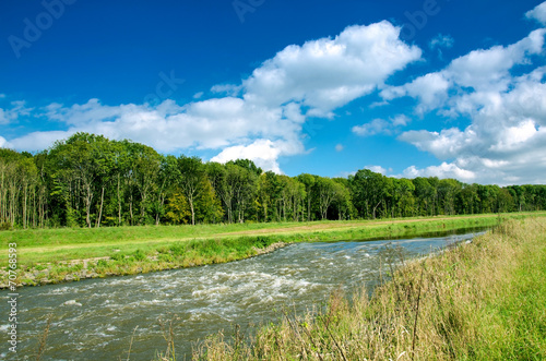 canvas print picture Fluss im Herbst