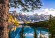 Leinwanddruck Bild - Landscape view of Morain lake and mountain range, Alberta, Canad