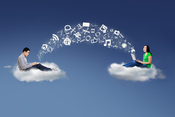 People on cloud and share information