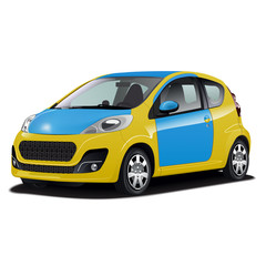 Blue and Yellow car
