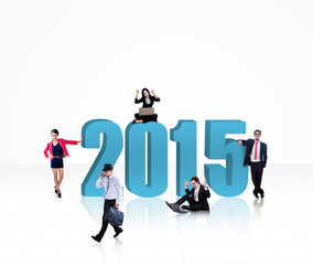 Successful businesspeople with number 2015