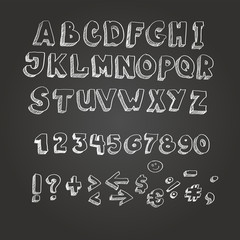 Chalk on blackboard style alphabet