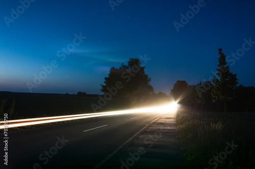 canvas print picture Auto bei Nacht