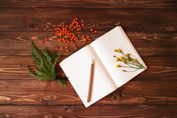 Blank notebook, wooden pencil and ashberry on wooden background