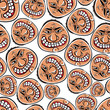 Funny faces seamless background, vector cartoon style pattern.