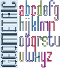 Retro colorful font with triple equal lines, geometric poster le