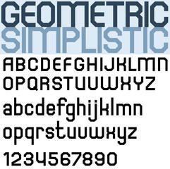 Poster black bold font and numbers, facet geometric letters.