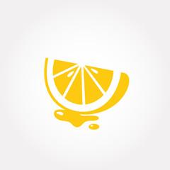 Slice of juicy lemon isolated on white