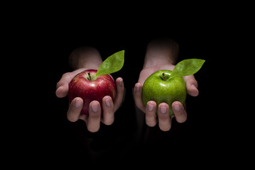 Choose red or green apple