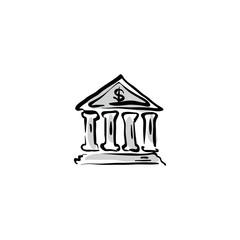 Vector bank building icon, hand drawn bank sign.