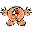 Wierd cartoon monster, absolute crazy numskull portrait, well, t