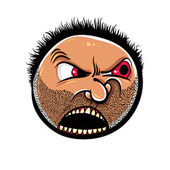 Angry cartoon face with stubble, vector illustration.
