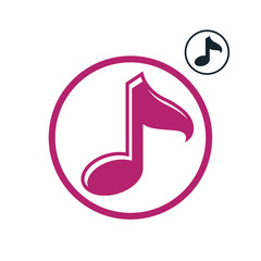 Music note icon isolated, single color vector music theme symbol
