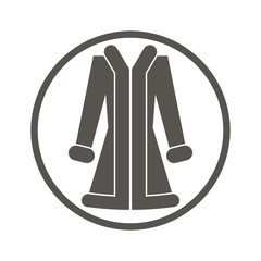 Cloth icon, vector illustration of woman coat.