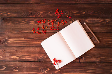Open notebook, wooden pencil and red ashberry on wooden table