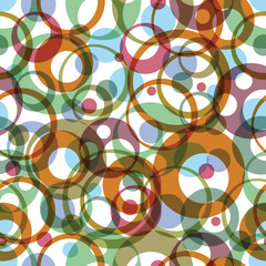 Vector bright round rainbow circles on white background, textile