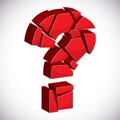 Red sectored 3d question mark on white background with outline.