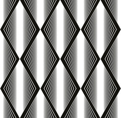 Seamless rhombus pattern, abstract geometric black and white bac