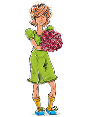 Bright vector full-length hand-drawn Caucasian teen with flowers