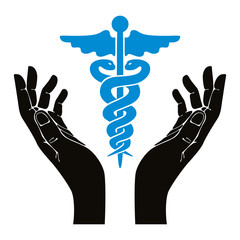 Hands with caduceus vector symbol.
