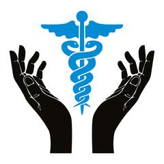 Hands with caduceus vector symbol.