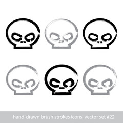 Set of brush drawing simple human skulls, collection of stroke p