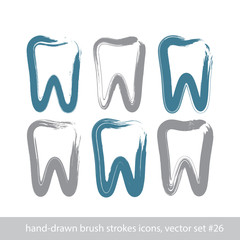 Set of stroke hand-drawn simple tooth icons, real ink brush draw