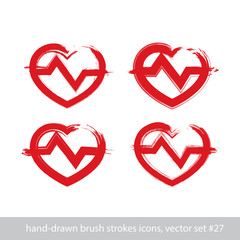 Set of hand-drawn stroke red heart icons, collection of brush dr
