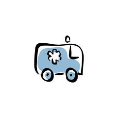 Illustrated ambulance car, vector medical icon.