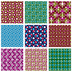 Set of colorful dotted seamless patterns, bright polka dot tiles