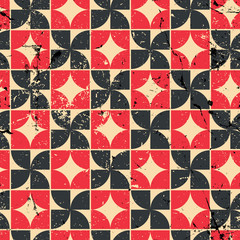 Vintage bright red and black geometric seamless pattern, contras