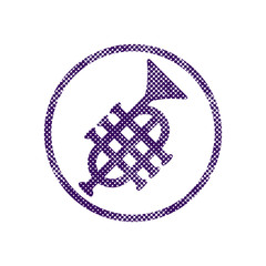 Music pipe icon with halftone dots print texture.