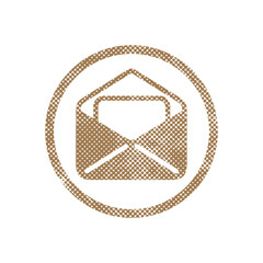 Envelope mail vector icon with pixel print halftone dots texture