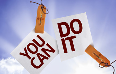 You Can Do It on Paper Note on sky background