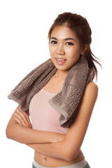 Asian slim girl exercise with towel on her neck