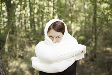 Girl covering fabric