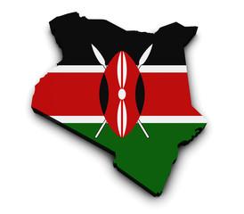 Kenya Flag Map 3d Shape
