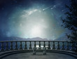 Leinwanddruck Bild - Fantastic balcony and landscape