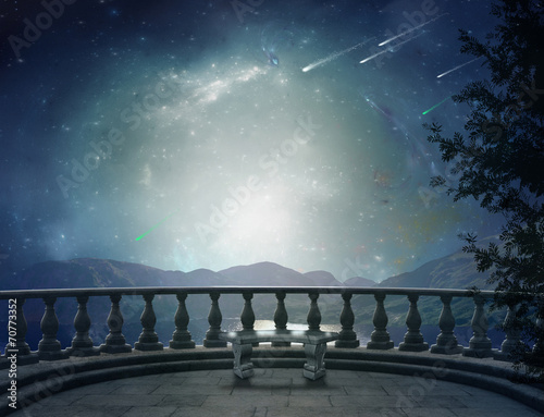 Leinwanddruck Bild Fantastic balcony and landscape