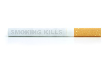 Smoking kills. Text on cigarette