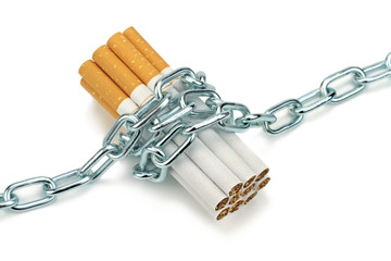 Chained cigarettes. Conceptual image.