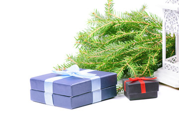 Christmas gifts, green spruce and lantern