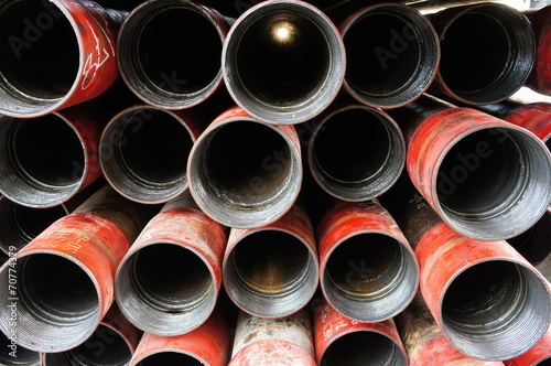 Stack of oil well intemediate casing bundles - 70774379