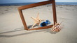 Frame with seashell, starfish and sunglasses on the beach